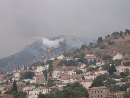 Fire bombing over Hydra as seen from Kamini