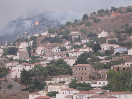 Fire on approach to Hydra town seen from Kamini