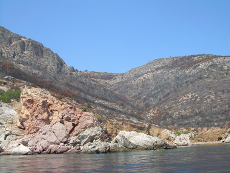 An entire valley destroyed on the back of Hydra Island