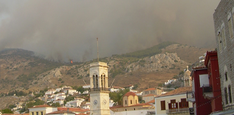 Fires above Hydra town